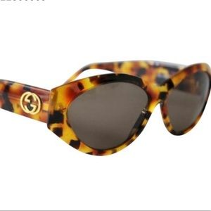 GUCCI Brown Vintage Oval Tortoise Gold GG 2400 😎